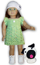 "FLUTTER DRESS, CLOCHE, BOOTIES & NUGGET THE PUG CROCHET PATTERN FOR 18"" DOLLS"