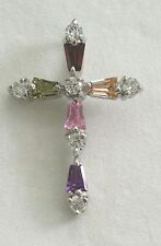 Multi Colored Cross Pendant Round & Tapered Baguette Crystal & Sterling Silver