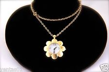 Flower Pendant Watch Chain Necklace with sparkling crystals Gold Tone