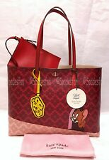 Kate Spade Tom & Jerry Large Tote Bag Purse Cat Mouse Cheese Red out Last 1
