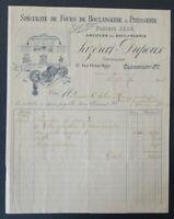 Facture 1908 LAZERAT DUPOUX Boulangerie Pâtisserie belle entête illustrée 23