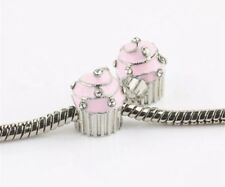 Pink Cupcake Baking European Charm With Pink Gift Pouch - Silver Tone