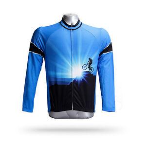 Conqueror Men's Cycling Clothes Top Blue Long Sleeve Cycling Jersey Shirt S-5XL