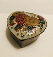 Vintage Copper Heart Trinket Box w/ Hand Painted Enamel Floral Hinged Lid India