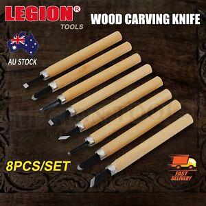 Wood Carving Knife 8PCS Tool Chisels Woodworking Craft Cutting Set DIY Kit AU