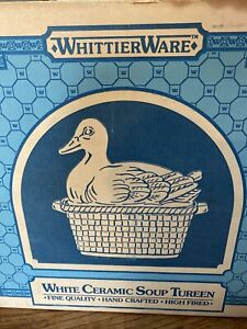 Vintage Country Style Duck Soup Tureen Serving Bowl w/Ladle White Ceramic