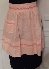 VINTAGE HAND Emboidery PEACH AND WHITE GINGHAM HALF APRON