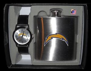 SAN DIEGO CHARGERS Mens WATCH & FLASK Gift SET Stainless Steel New in Box NFL