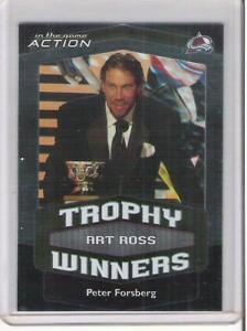 2002-03 IN THE GAME ACTION PETER FORSBERG ART ROSS TROPHY WINNER