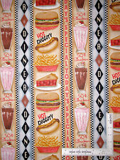 Food Kitchen Hot Dog Fries Stripe Cotton Fabric Good Eats Diner 24907 SPX - Yard