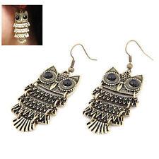 Fashion Pendant Dangle Earrings Vintage Retro Cute Owl Big Black Eyes Bronze