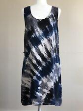 Medium C&C California Tie Dye 100% Cupro Tank Dress Beach Vacation. Keyhole Back