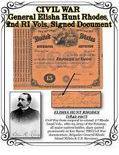 *RARE* CIVIL WAR General Elisha Hunt Rhodes, 2nd RI Vols., Signed Document