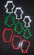 9 X Navidad Navidad Cookie Plástico Galleta Cortadores Angel Santa Árbol