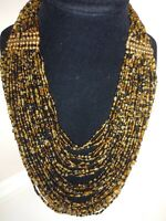 "VTG Seed Glass Beads Black/Tan Bib Nacklace Multi-Strand (30) 12"""