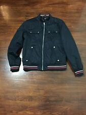 Navy Dark H&M Mens Jacket Sport Style Pockets ZipUp  Size US42R White Red Line