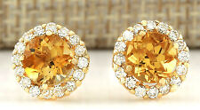 3.65 Carat Natural Citrine 14K Yellow Gold Diamond Earrings