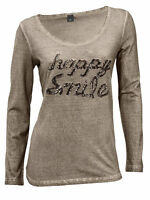 Happy Smile T-Shirt Best Connections Size 16 Round/Neck/Brown/Heine/Women's/NEW