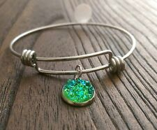 Stainless Steel Adjustable Bangle with Green Sparkly Faux Druzy Charm