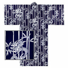 """Japanese 58"""" Men's 100% Cotton Yukata Kimono Lucky Dragon & Bamboo Made in Japan"""