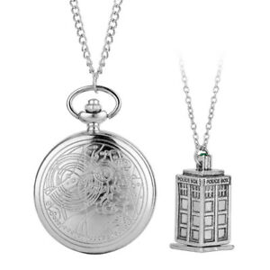 Men Women Doctor Who Pocket Watch Analog Necklace Chain Fob Watch Vintage Gifts