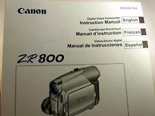 Canon ZR800 MiniDV camcorder Instruction Manual Guide English Francais Espanol