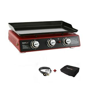 """Royal Gourmet 3-Burner 24"""" Red Portable Table Top Propane Gas Griddle PD1301R"""