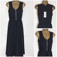 M&S Black Soft Modal Stretch Jersey Lined Midi Dress Sizes 8 - 18  (ms- 276w)