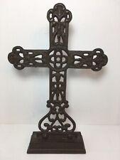 "Antique-Style Decorative Rustic 11"" Cast Iron Cross Christian Home Alter Decor"
