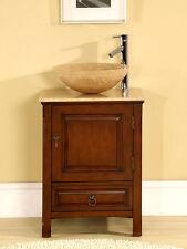 22-inch Single Stone Sink Travertine Top Cabinet Bathroom Vessel Vanity  0158TR