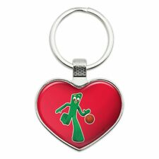 Sporty Gumby Basketball Player Clay Art Heart Love Metal Keychain Key Chain Ring