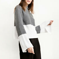 Women Fashion Color Contrast Mock Neck Bell Sleeve Knitted Tops Pullover Sweater