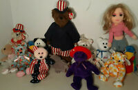 Lot 15 Ty Beanie Babies GIRLZ Jabber UNCLE SAM Pirouette RUBY Count MRS Motherly