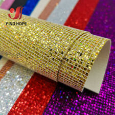 ​Plaid Sequin Shiny Glitter Fabric Faux Synthetic Leather Sewing Bag Shoes DIY