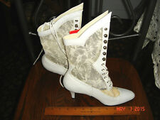 VTG DINGO WHITE LEATHER IVORY LACE VICTORIAN BRIDE HIGH HEEL WEDDING BOOTS sz5.5