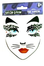Halloween Cat Face Stickers,Face Tattoo Cat Mask Age 6+