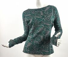 JT Collection Women's Paisley Pattern Green Dolman Sleeve Top Blouse Size S