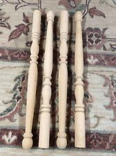 1 Set of 4 Unfinished Wood Turned Dining/Table/Bench Legs