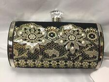 Debbie Brooks Black Satin Silver Clutch Bag Handbag Purse Lace Pearls New NWT
