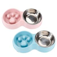 Pet Bowl Slow Feeder Double with Stainless Steel Bowl for Dogs & Cats, Anti Q7N9