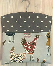 OILCLOTH PEG BAG MADE IN  QUALITY FABRIC QUIRKY HARRIET HENS & DOTTY SMOKE GREY