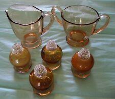 Vintage Crystal Sugar Bowl Creamer Bronze Color 2 Sets Salt & Pepper