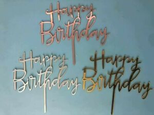 Happy Birthday Calligraphy Acrylic Cake Topper Party Decoration UK seller - New