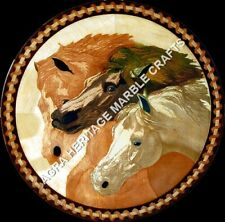"30"" Marble Round Coffee Garden Table Top Horse Inlay Handmade Patio Decor H5211A"