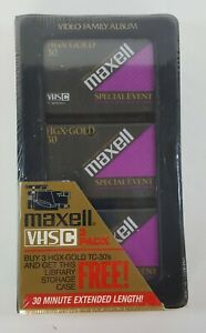 Maxell HGX-GOLD VHS-C 3 pack Grade TC-30 Camcorder Video Tapes NEW