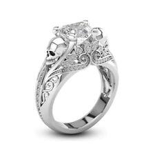 2.50 Ct Brilliant White Heart Daimond Engagement Wedding Skull Ring 925 Silver