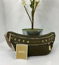 New Michael Kors Fanny Pack Kenly Green Nylon Studded Medium Waist Pack B2E