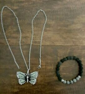 Pearlescent Gray Butterfly Necklace Crystal Rhinestones Silver Setting & Chain