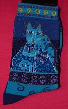 """Laurel Burch Cat Pattern Socks-""""BLUE FELINES"""" Blue #1058"""