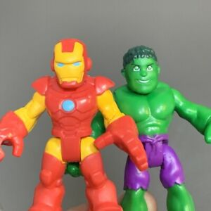 2x Playskool Marvel Super Hero Adventures Incredible Hulk & Squad Iron Man Toys